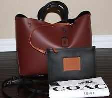 💚 NWT Coach 1941 Rogue TOTE Bag Leather Purse and Wristlet Pouch Bordeaux