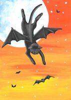 ACEO PRINT OF PAINTING RYTA HALLOWEEN BAT BLACK CAT FOLK ART FULL MOON AUTUMN