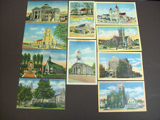 NEW JERSEY LOT OF 10 CHURCHES - LINEN POSTCARDS
