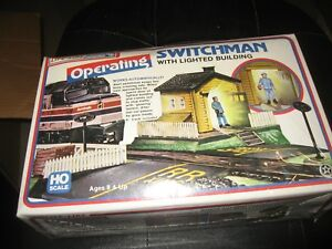 Sealed Life-Like HO Scale Operating Switchman with Lighted Building