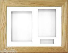 BabyRice 29.2x21.6cm solido legno di quercia 3D Cornice / 3 Hole bianco