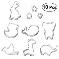 10x Cookie Cutters Kit Stainless Steel Molds Cake Baking Molds Set Kids Party