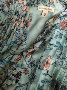 Coldwater Creek  Blouse Top Short Sleeve Sheer Lined Floral  SIZE  2X