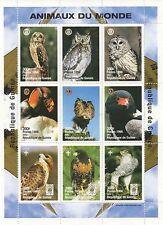 Animali del mondo degli uccelli selvatici GUFO Eagle Guinee 1998 MNH STAMP SHEETLET