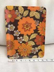 VINTAGE RETRO 70'S FUNKY FLORAL FIBREGLASS TRAY ORANGE BROWN AND YELLOW