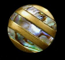 New listing Antique Vtg Button Small Brass Charmstring w Inlaid Paua Abalone Pearl Shell