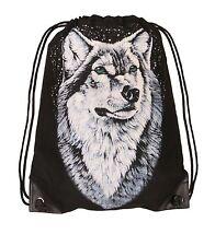 Wolf Rucksack Tasche Freitzeit Turn Beutel Bag schwarz Wölfe Tüte Shopper