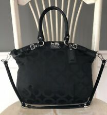 COACH MADISON LINDSEY Black Signature OpArt Satchel Shoulder Handbag Purse 18649