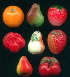 "8 Assorted Glass Fruit Buttons…Vintage Realistics…@9/16"""
