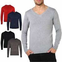 New Mens Jumper V Neck Sweatshirt Knitwear Sweater Jumper Plain Pullover S-XXL