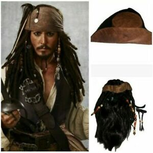 Pirates of the Caribbean Cosplay Jack Captain Wig Headband anime Hat Pirates Wig