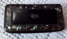 More details for antique georgian papier mache black laquered, snuff box, inlaid mother of pearl