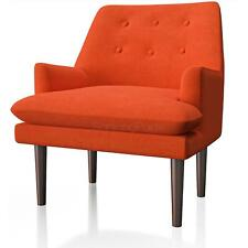 Fabric Accent Chair Armchair w/ Brown Wood Leg Mid-Century Modern Low Arm Orange