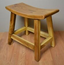 Handmade Japanese Saddle top Solid Suar Wood Dining Stool Exotic Backless Bench