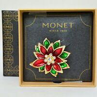Monet Enameled Poinsettia Pin Brooch Rhinestone Signed IOB