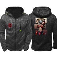 Deadpool Harley Quinn Hoodie Zipper Sweatshirt Casual Coat Jacket Unisex Top