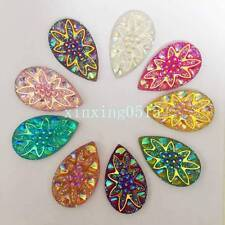 10pcs 18*30mm AB Rhinestone Resin Drop flower Flatback Wedding decoration 2 Hole