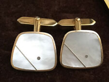 Gold Patterned Cuff Links Mother Of Pearl &