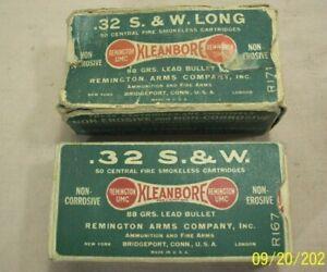 vintage~REMINGTON UMC~.32 S.&W. LONG & SHORT KLEANBORE DOG BONE 2 PC. AMMO BOXES