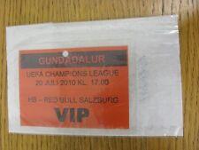Billete De 20/07/2010: HB torshaun V Salzburgo [UEFA Champions League] [VIP Laminado