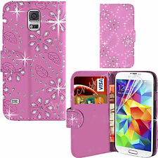 Bling Diamonte Studs Leather Wallet JEWEL Flip Case Cover for All PHONES Samsung Galaxy S3 I9300 Baby Pink