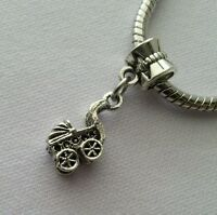 Carriage Baby Stroller Dangle Bead Fits European Style Charm Bracelet/Necklace