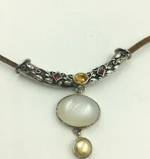 SLIDE WITH LEATHER CORD  NECKLACE MULTY STONES  STERLING SILVER NEPAL