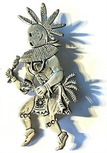 LARGE FREDDY CHARLEY Navajo Sterling Silver Kokopelli KACHINA Brooch Pin Pendant