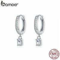 BAMOER European Women Stud Earrings S925 Sterling Silver Zircon's love Jewelry