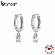 BAMOER European Women Stud Earrings S925 Sterling Silver Zircon's love Jewelry