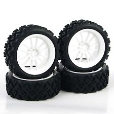4 Pcs For RC 1/10 Rally Racing Off Road Car PP0069+PP0487 Rubber Tires Wheel Rim