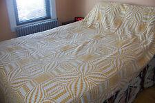 Vtg Fieldcrest MID CENTURY Modern Mustard Woven Bedspread Williamsburg Pinwheels