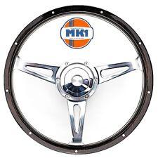 """Austin Mini Clubman 1275 15"""" Riveted Dark Wood Steering Wheel & Boss Fitting Kit"""