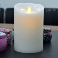 Luminara Flameless Battery Operated Pillar Led Candles Wax White for Christmas