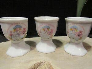 Three Vintage (1990) Holly Hobbie Ceramic Egg Cups. Make each day a sunshine day