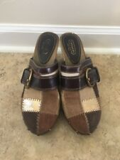 COACH Sebrina Studded Clog Mules Patchwork Leather Suede Tan Brown Size 9M 2370