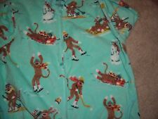 ADULT XXL NICK & NORA MINT GREEN ONESIE PAJAMAS W/ SOCK MONKEY SKATING - NWT