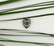 Vintage Sterling Silver Pansy Flower Puffy Heart Bracelet Charm 40's