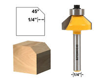 """45 Degree Chamfer Edge Forming Router Bit - 1/4"""" Shank - Yonico 13104q"""