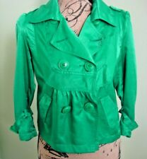 Womens Top Jacket Rag Cie  Double Breasted 3/4 Sleeves Size Medium Green