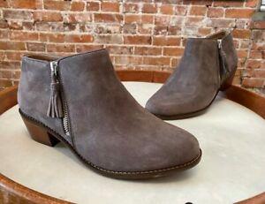 Vionic Greige Grey Suede Joy Serena Ankle Comfort Orthaheel Boot Bootie New