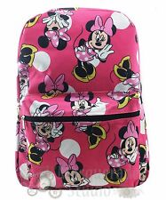"16"" Disney Minnie Mouse Large Pink All Over Print Backpack Book Bag"