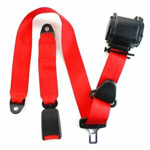 1X Fits Hyundai 3 Point Harness Safety Seat Belt Retractable Red Car Universal