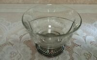 Vintage Clear Glass Bowl Divided Dish with Sterling Silver Base