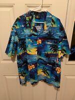Vintage Men's Royal Creations Aloha Hawaiian Shirt XXL Blue.