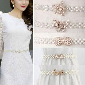 Fashion Women Elastic Pearl Waist Chain Ladies Waistband Dress Belt Decor Gift