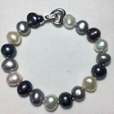 elegant 10-11mm natural south sea multicolor pearl bracelet silver 7.5''-8''