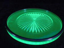VINTAGE URANIUM VASELINE GREEN DEPRESSION GLASS UNUSUAL SILVER EDGED TRAY