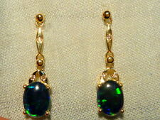 Opal Earrings 14ct Yellow Gold & Diamond. Natural Triplet Opals 8x6mm Oval.80320