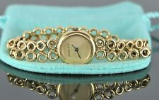 $9,500 Vintage Estate Tiffany Co FRANCE 18K Yellow Gold Double Row Bubble Watch